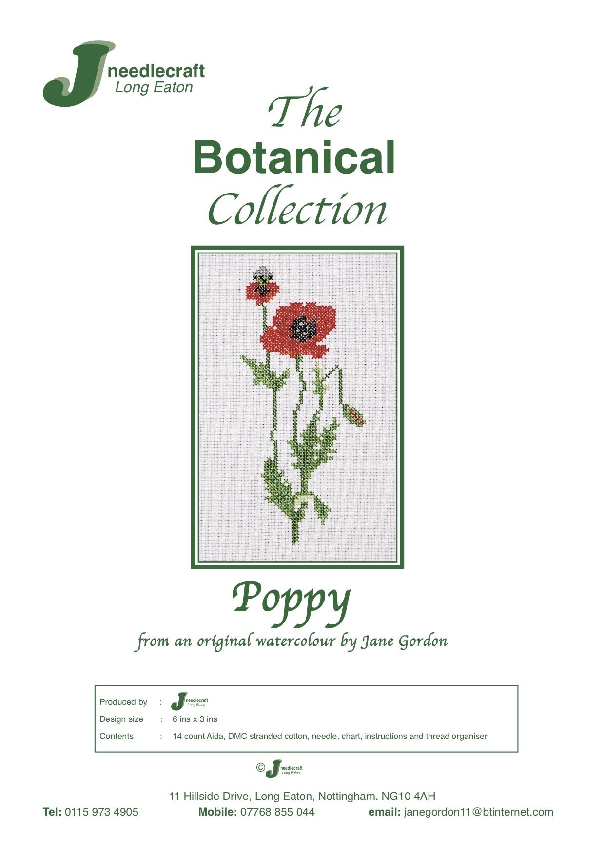 Poppy cross stitch kit front cover