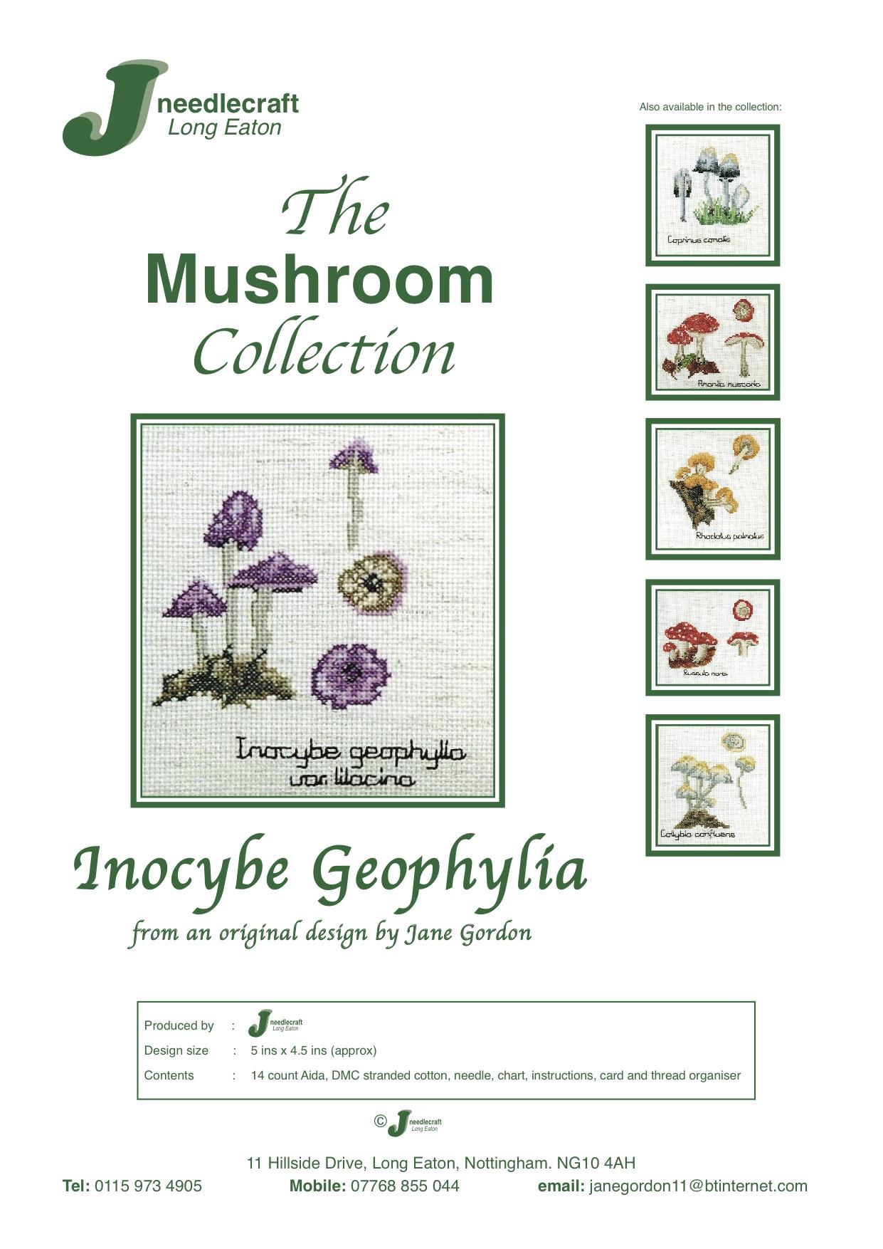 Inocybe geophylla mushroom cross stitch kit front cover