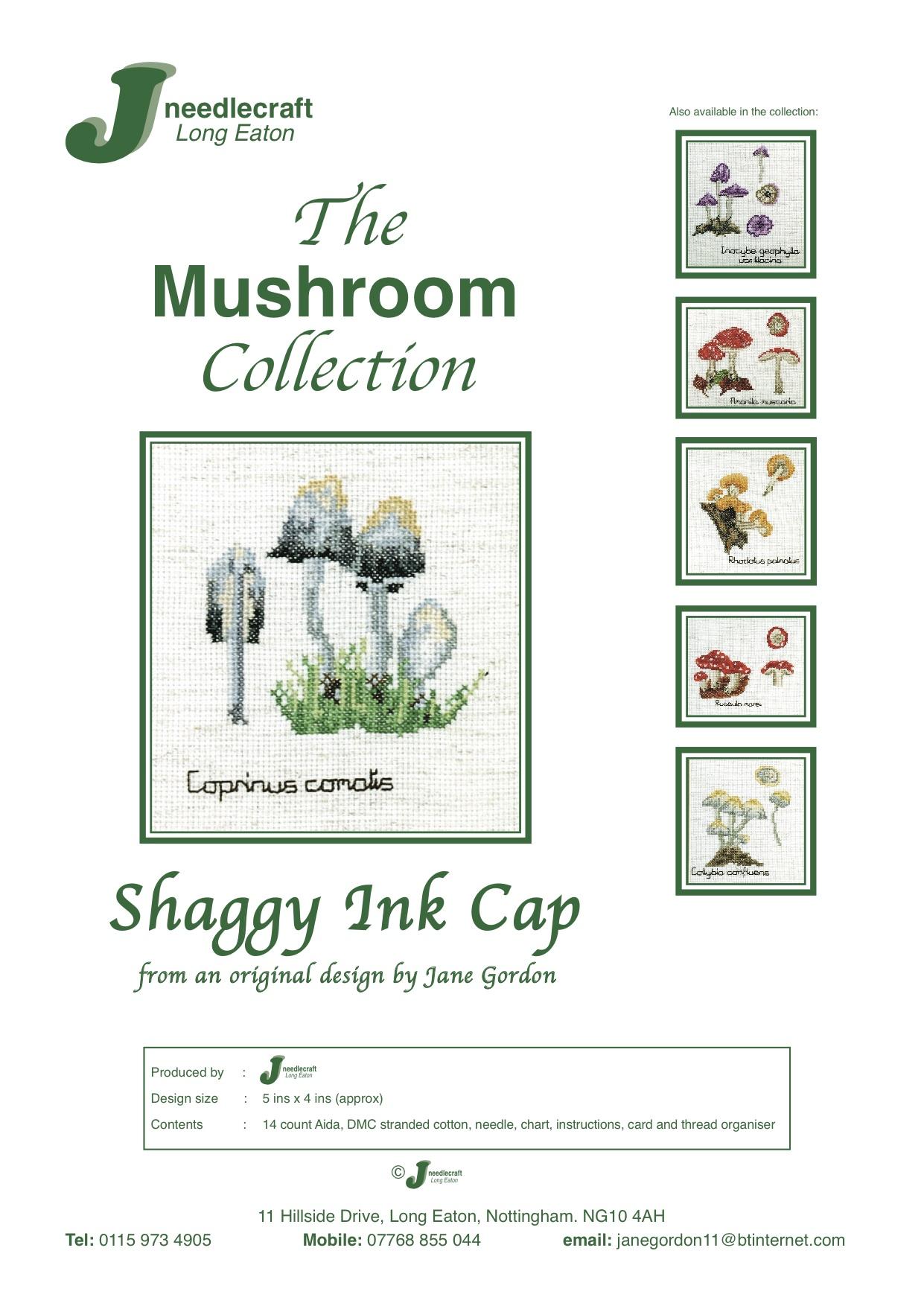 Shaggy Ink Cap mushroom cross stitch kit front cover