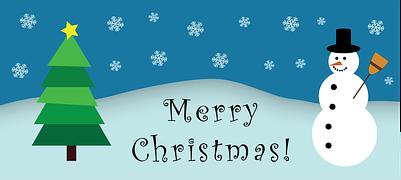 Snowman wishing you a Merry Christmas