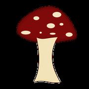 Cartoon image of a Beechwood Sickener mushroom